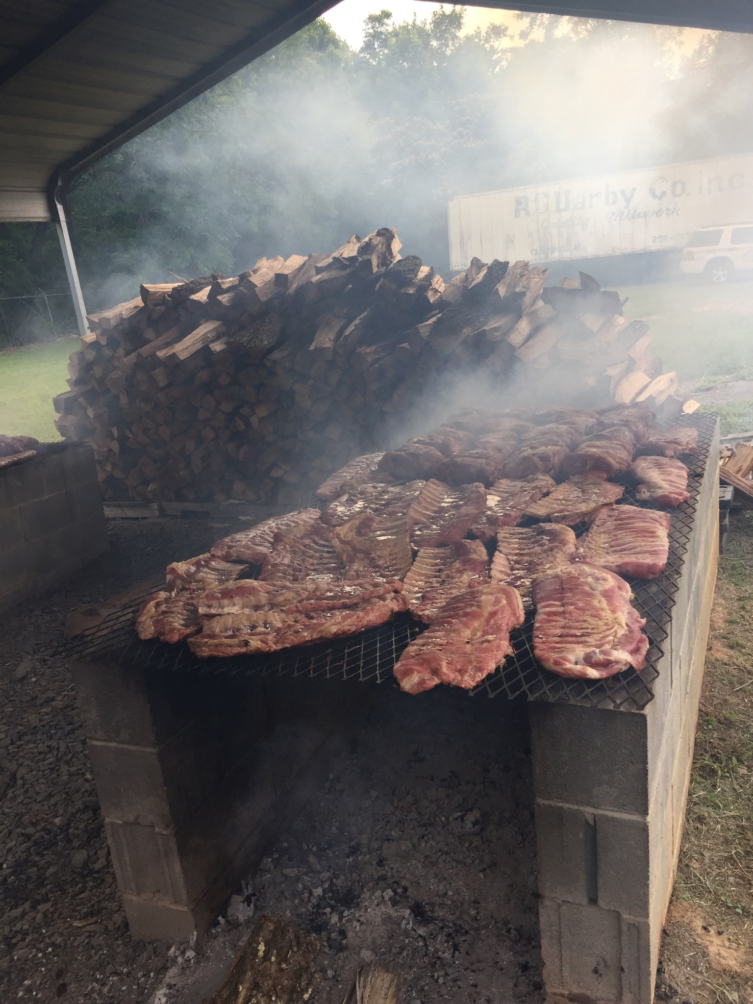 Smoking Meat for our Annual Fundraiser